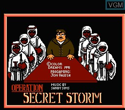 Title screen of the game Operation Secret Storm on Nintendo NES