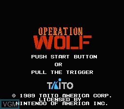 Title screen of the game Operation Wolf on Nintendo NES
