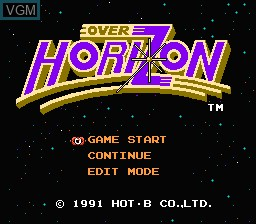 Title screen of the game Over Horizon on Nintendo NES