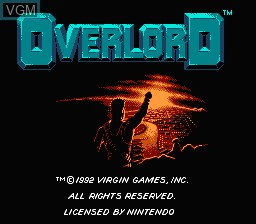 Title screen of the game Overlord on Nintendo NES