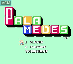 Title screen of the game Palamedes on Nintendo NES