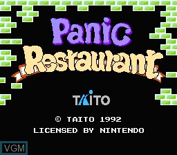 Title screen of the game Panic Restaurant on Nintendo NES