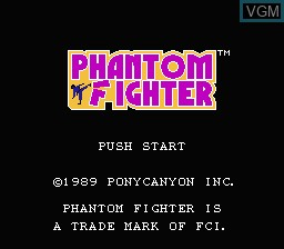 Title screen of the game Phantom Fighter on Nintendo NES
