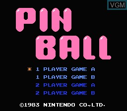Title screen of the game Pinball on Nintendo NES