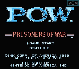 Title screen of the game P.O.W. - Prisoners of War on Nintendo NES