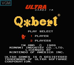 Title screen of the game Q-bert on Nintendo NES