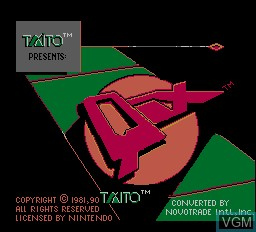 Title screen of the game Qix on Nintendo NES