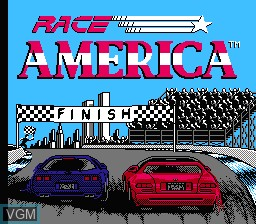 Title screen of the game Race America on Nintendo NES