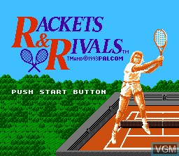 Title screen of the game Rackets & Rivals on Nintendo NES