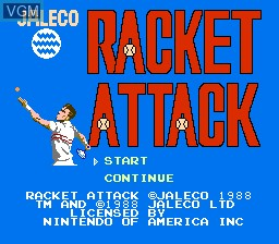 Title screen of the game Racket Attack on Nintendo NES