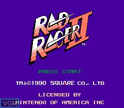 Title screen of the game Rad Racer 2 on Nintendo NES