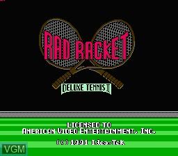 Title screen of the game Rad Racket - Deluxe Tennis II on Nintendo NES