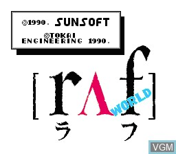 Title screen of the game Raf World on Nintendo NES