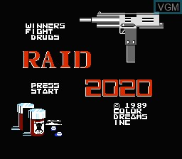 Title screen of the game Raid 2020 on Nintendo NES