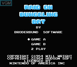 Title screen of the game Raid on Bungeling Bay on Nintendo NES