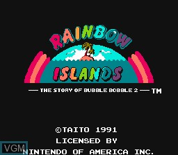 Title screen of the game Rainbow Islands - The Story of Bubble Bobble 2 on Nintendo NES