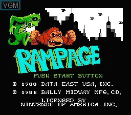 Title screen of the game Rampage on Nintendo NES
