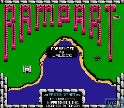 Title screen of the game Rampart on Nintendo NES