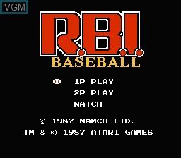 Title screen of the game R.B.I. Baseball on Nintendo NES