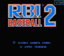 Title screen of the game R.B.I. Baseball 2 on Nintendo NES