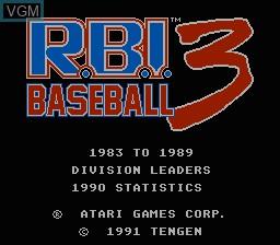 Title screen of the game R.B.I. Baseball 3 on Nintendo NES