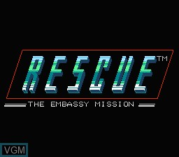 Title screen of the game Rescue - The Embassy Mission on Nintendo NES