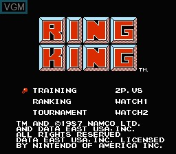 Title screen of the game Ring King on Nintendo NES