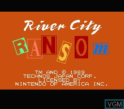 Title screen of the game River City Ransom on Nintendo NES