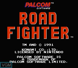 Title screen of the game Road Fighter on Nintendo NES