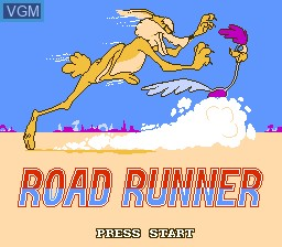 Title screen of the game Road Runner on Nintendo NES