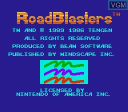 Title screen of the game RoadBlasters on Nintendo NES