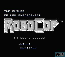 Title screen of the game RoboCop on Nintendo NES