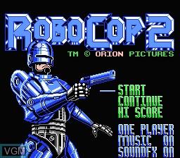 Title screen of the game RoboCop 2 on Nintendo NES