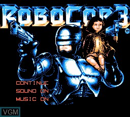 Title screen of the game RoboCop 3 on Nintendo NES