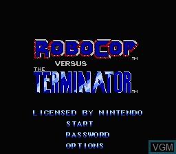 Title screen of the game RoboCop Vs The Terminator on Nintendo NES