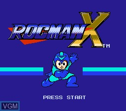 Title screen of the game Rocman X on Nintendo NES