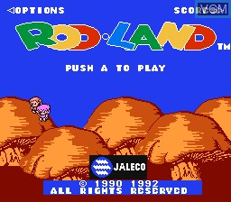Title screen of the game Rod Land on Nintendo NES