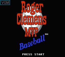 Title screen of the game Roger Clemens' MVP Baseball on Nintendo NES