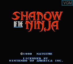 Title screen of the game Shadow of the Ninja on Nintendo NES