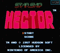 Title screen of the game Starship Hector on Nintendo NES