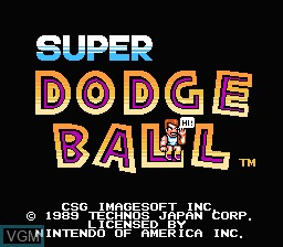 Title screen of the game Super Dodge Ball on Nintendo NES