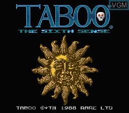 Title screen of the game Taboo - The Sixth Sense on Nintendo NES
