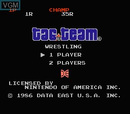Title screen of the game Tag Team Wrestling on Nintendo NES