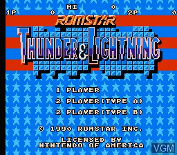 Title screen of the game Thunder & Lightning on Nintendo NES