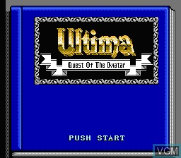 Title screen of the game Ultima - Quest of the Avatar on Nintendo NES