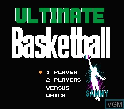 Title screen of the game Ultimate Basketball on Nintendo NES
