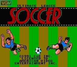 Title screen of the game Ultimate League Soccer on Nintendo NES