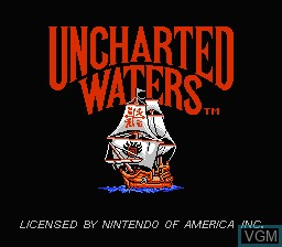 Title screen of the game Uncharted Waters on Nintendo NES