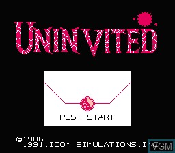 Title screen of the game Uninvited on Nintendo NES
