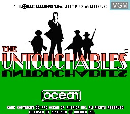 Title screen of the game Untouchables, The on Nintendo NES